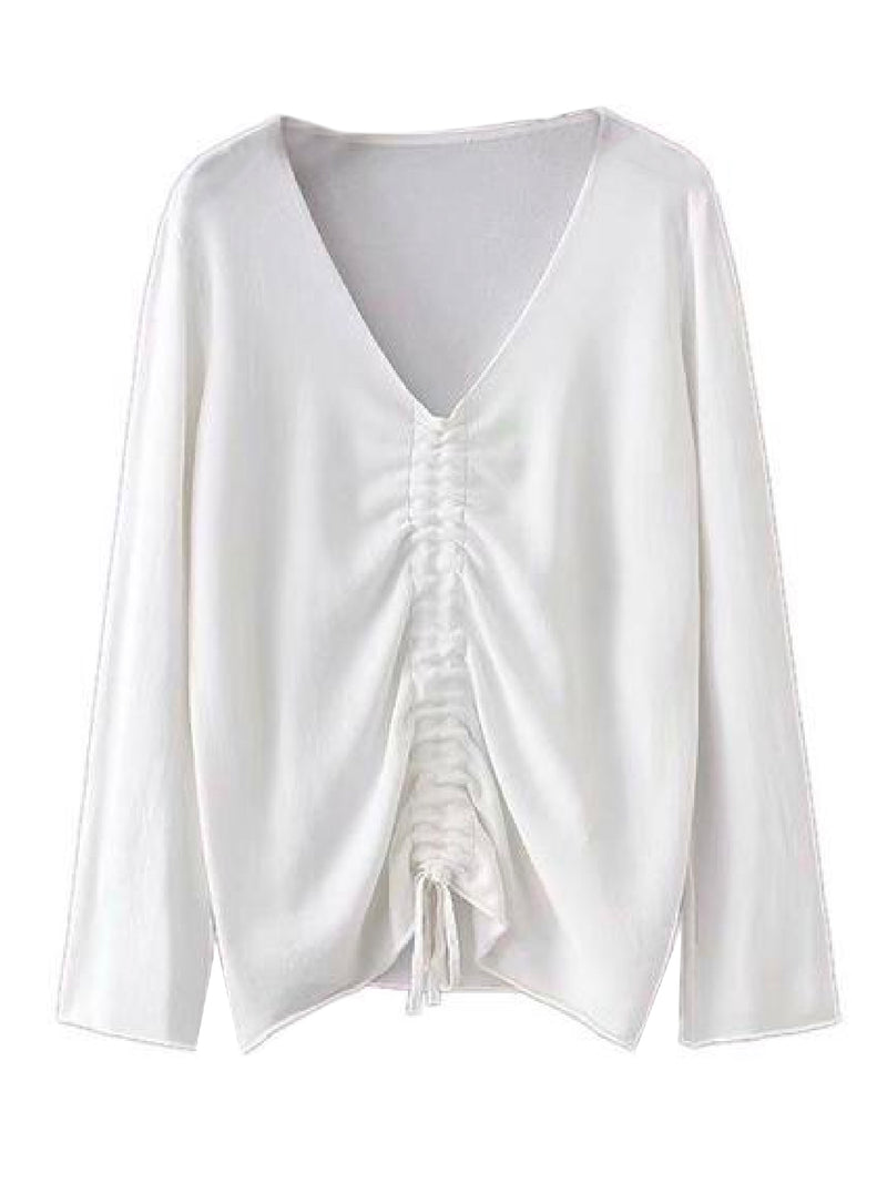 Goodnight Macaroon 'Narcissa' Ruched Front Long-Sleeved V-Neck Top White Front