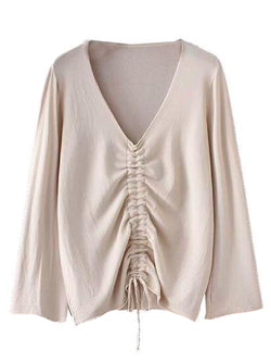 Goodnight Macaroon 'Narcissa' Ruched Front Long-Sleeved V-Neck Top Beige Front