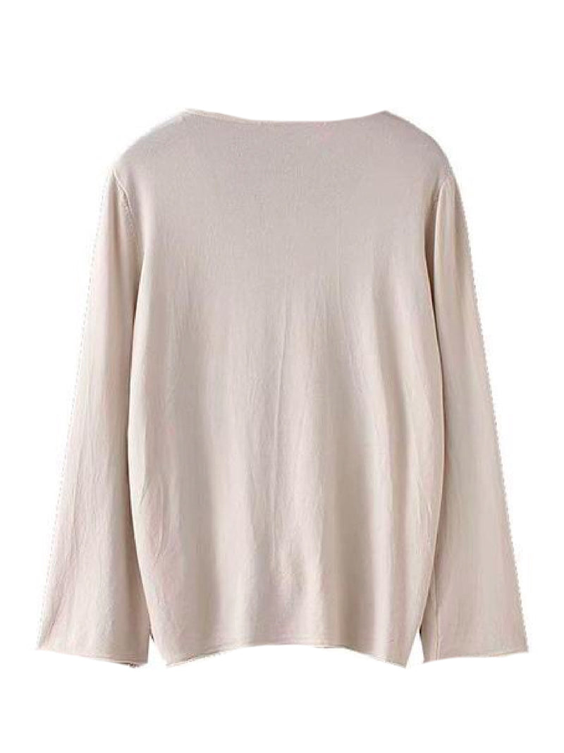 Goodnight Macaroon 'Narcissa' Ruched Front Long-Sleeved V-Neck Top Beige Back