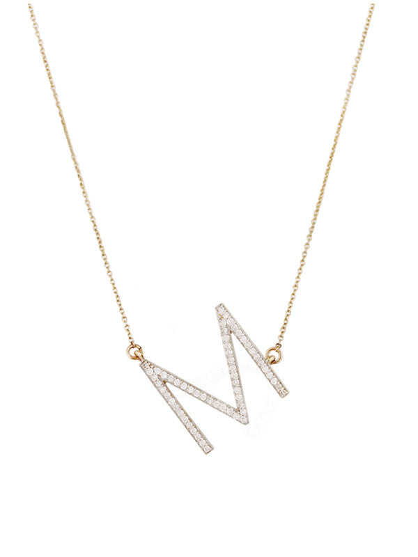 'Cacey' Slanted Crystal Initial Necklace