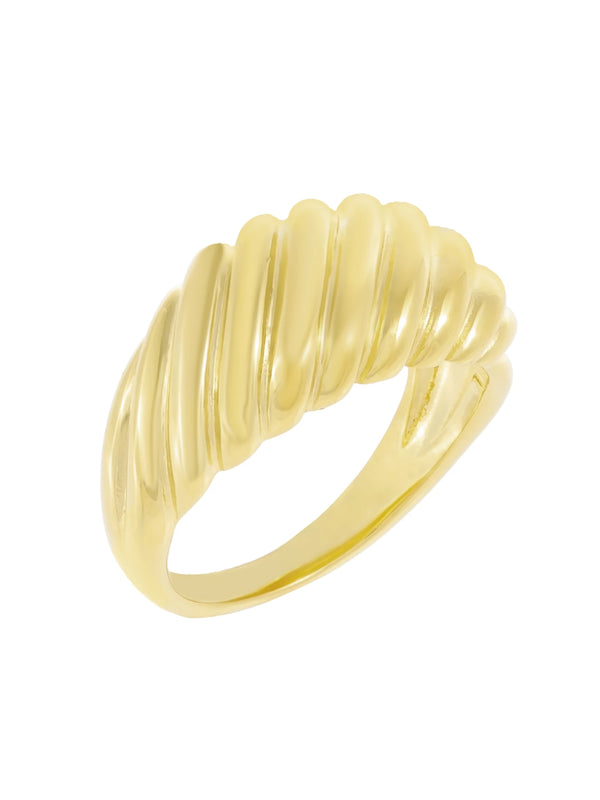 'Sea' Solid Ridged Dome Ring