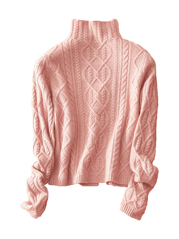 'Jasmin' Cashmere High Neck Cable Knit Sweater (7 Colors)
