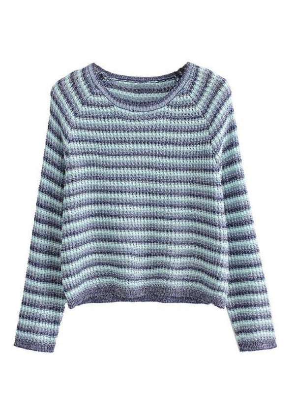 Goodnight Macaroon 'Taina' Striped Crew Neck Sweater Front