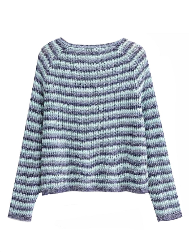 Goodnight Macaroon 'Taina' Striped Crew Neck Sweater Back