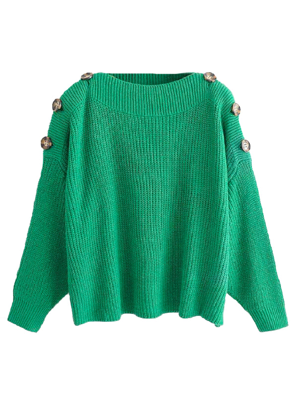 Goodnight Macaroon 'Zona' Buttoned Shoulder Crew Neck Sweater Green