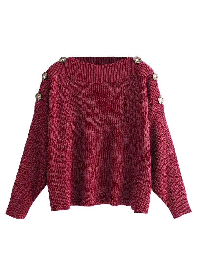 Goodnight Macaroon 'Zona' Buttoned Shoulder Crew Neck Sweater Red Front