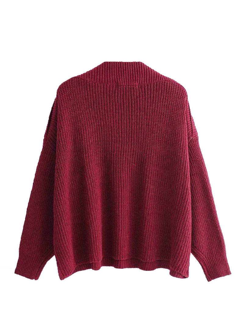 Goodnight Macaroon 'Zona' Buttoned Shoulder Crew Neck Sweater Red Back