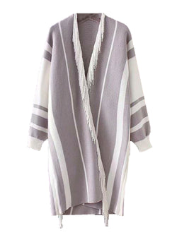 Goodnight Macaroon 'Echo' Bohemian Fringed Poncho Cardigan Grey Front