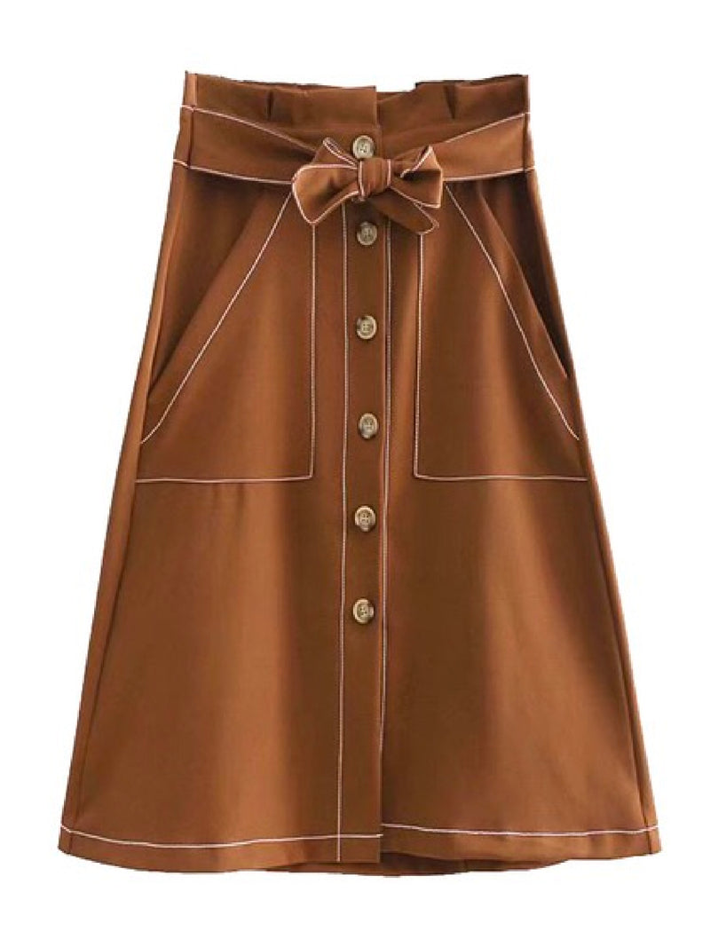 Goodnight Macaroon 'Pernilla' Button Belted Midi Skirt Khaki Front