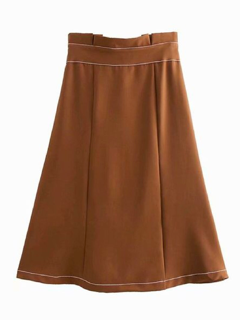 Goodnight Macaroon 'Pernilla' Button Belted Midi Skirt Khaki Back