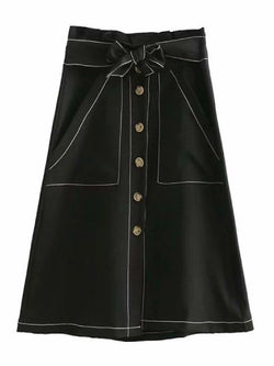 Goodnight Macaroon 'Pernilla' Button Belted Midi Skirt Black Front