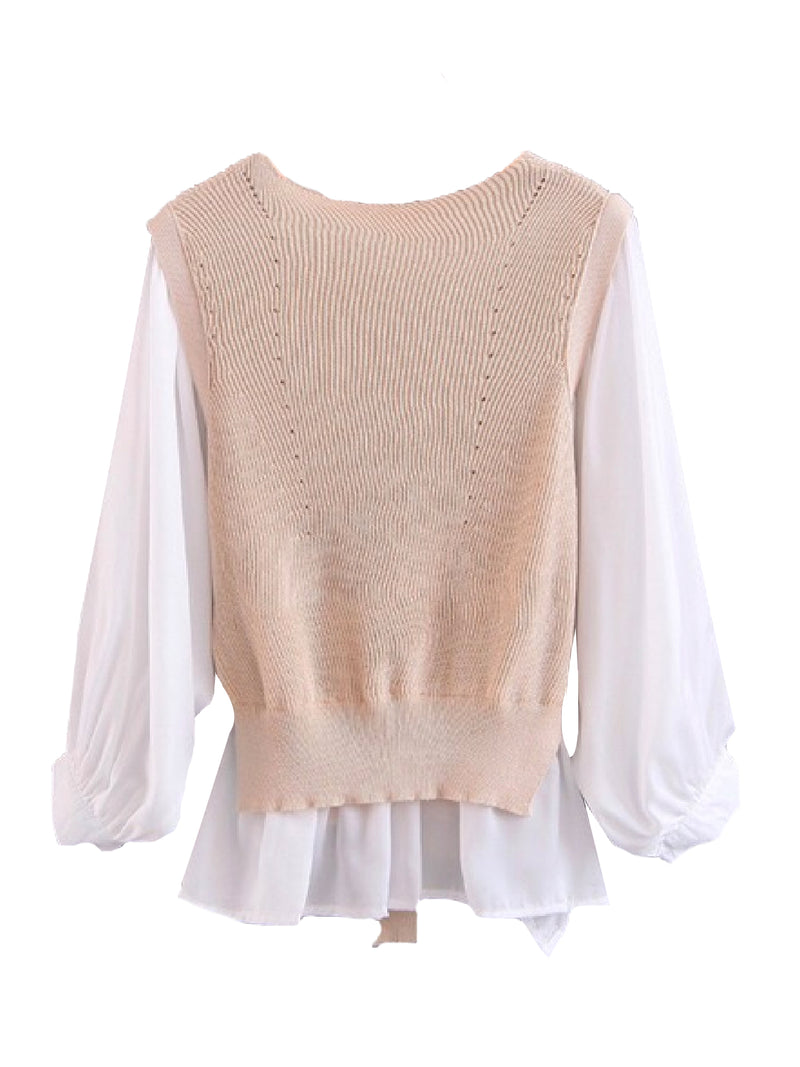 Goodnight Macaroon 'Gill' Mock Knitted Vest Over Shirt Cream White Front