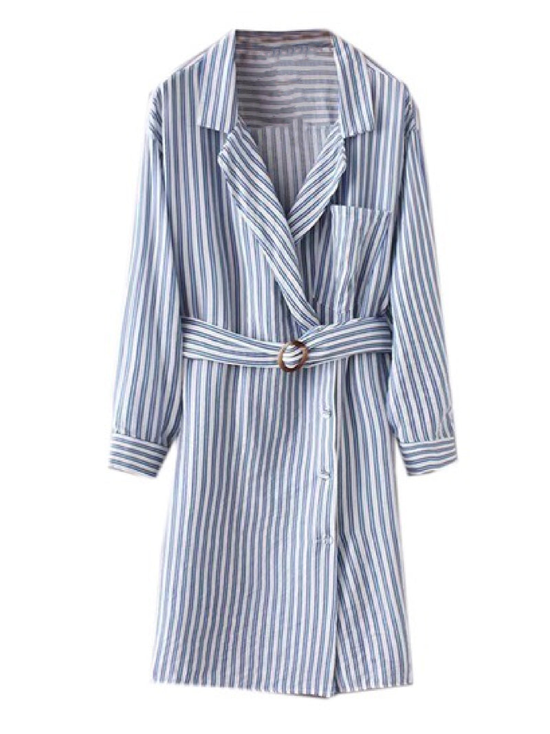 Goodnight Macaroon 'Dyna' Striped Belted Shirt Dress Front