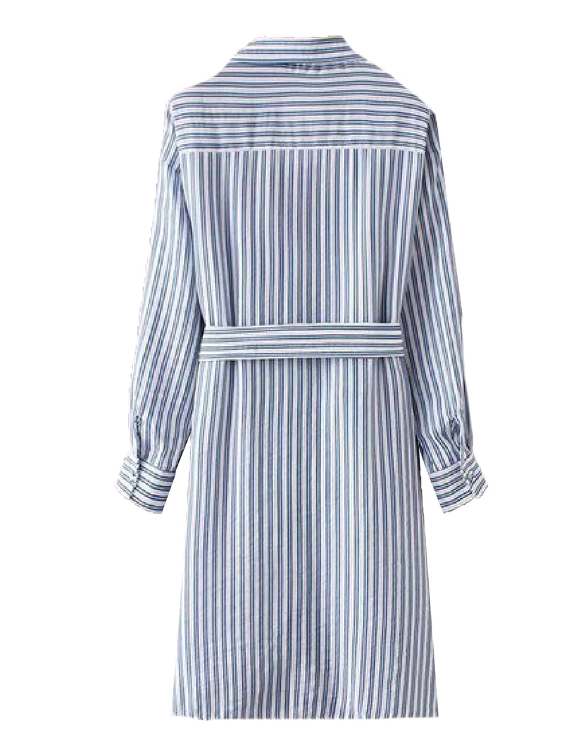 Goodnight Macaroon 'Dyna' Striped Belted Shirt Dress Back