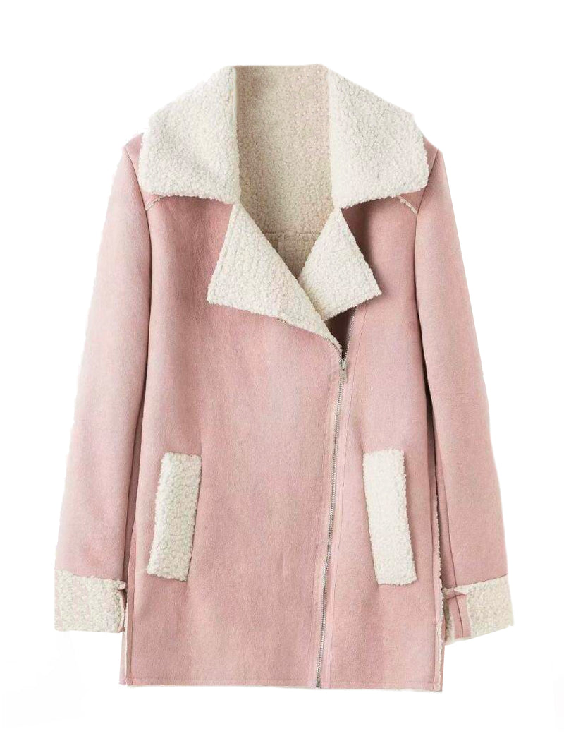 Goodnight Macaroon 'Lagina' Faux Suede Shearling Coat Pink Front