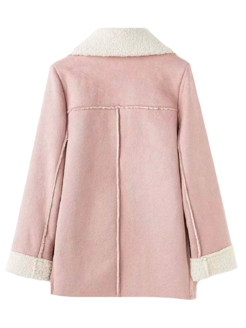 Goodnight Macaroon 'Lagina' Faux Suede Shearling Coat Pink Back