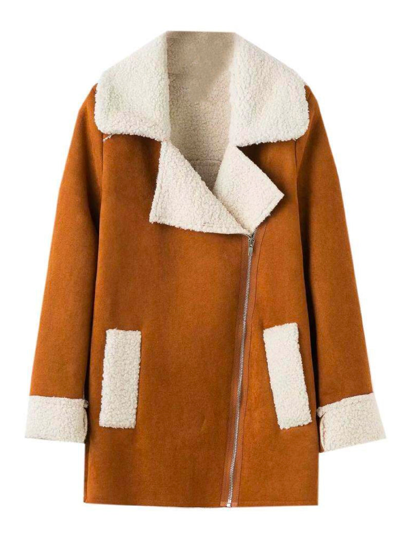 Goodnight Macaroon 'Lagina' Faux Suede Shearling Coat Camel Front