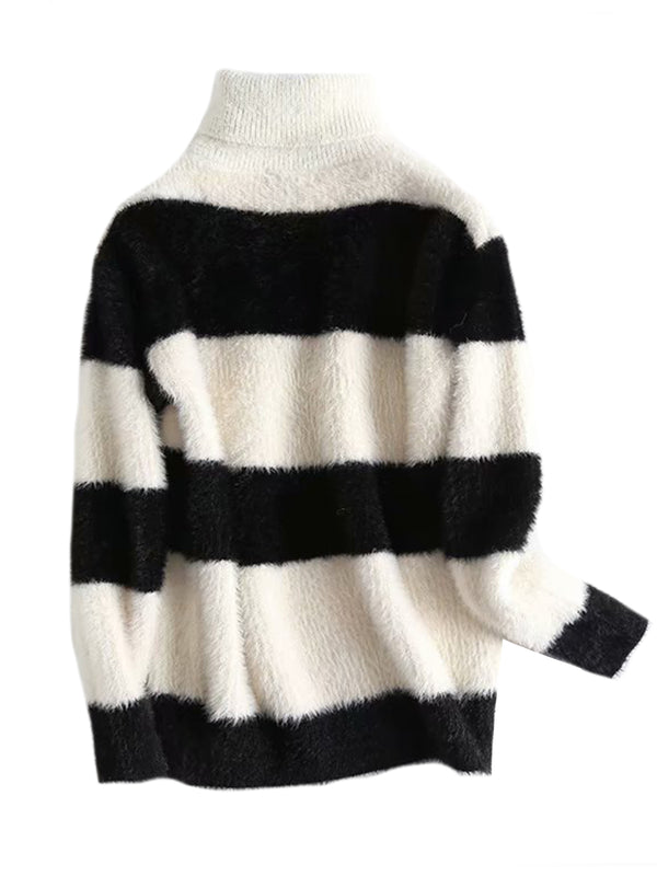 Goodnight Macaroon 'Elouise' Bicolor Striped Turtleneck Sweater Black Front
