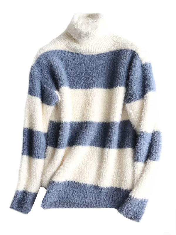 Goodnight Macaroon 'Elouise' Bicolor Striped Turtleneck Sweater Blue Front