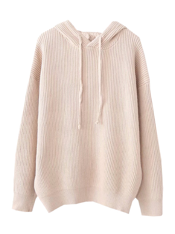 Goodnight Macaroon 'Katara' Rib Knitted Hoodie White Front