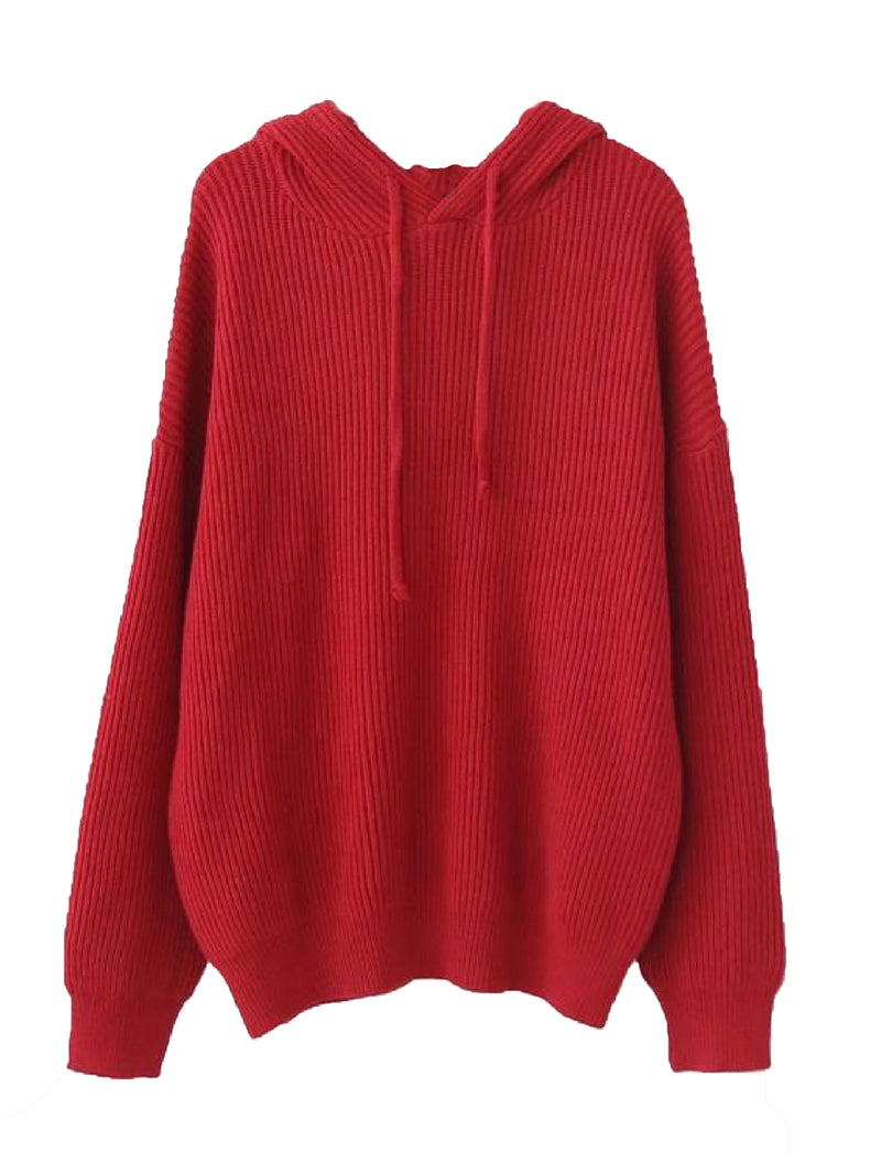 Goodnight Macaroon 'Katara' Rib Knitted Hoodie Red Front