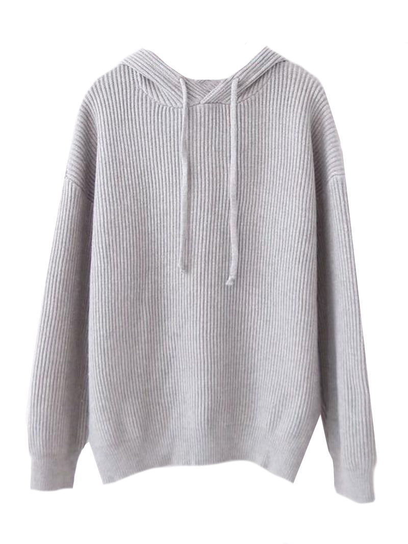 Goodnight Macaroon 'Katara' Rib Knitted Hoodie Grey Front