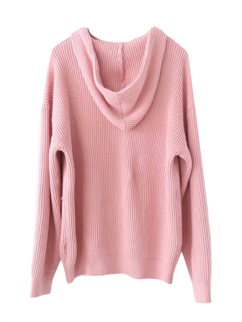 Goodnight Macaroon 'Katara' Rib Knitted Hoodie Pink Back