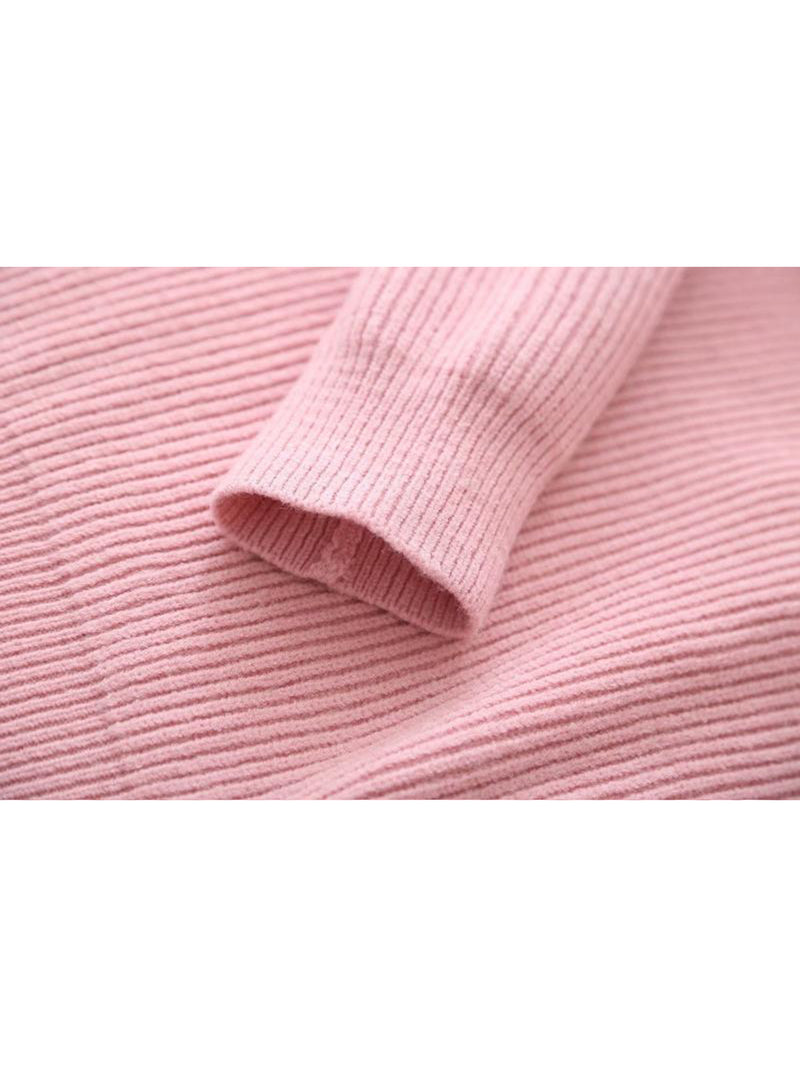 Goodnight Macaroon 'Katara' Rib Knitted Hoodie Pink Sleeve