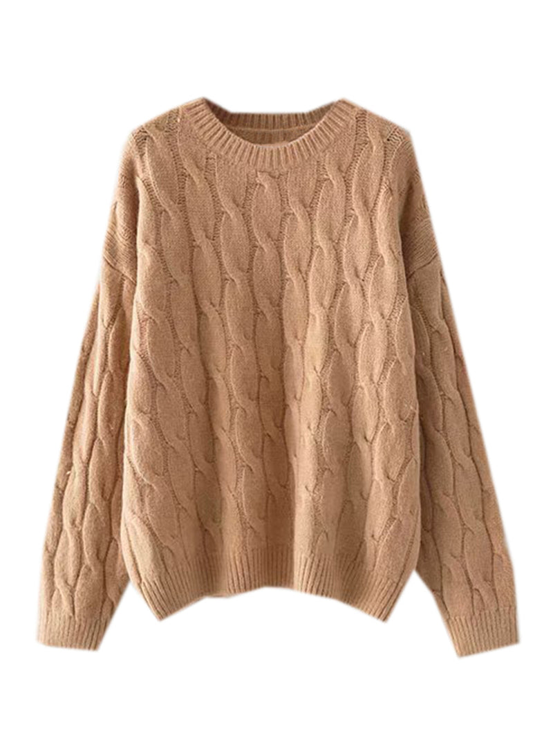Goodnight Macaroon 'Hepburn' Camel Cable Knit Crewneck Sweater Front