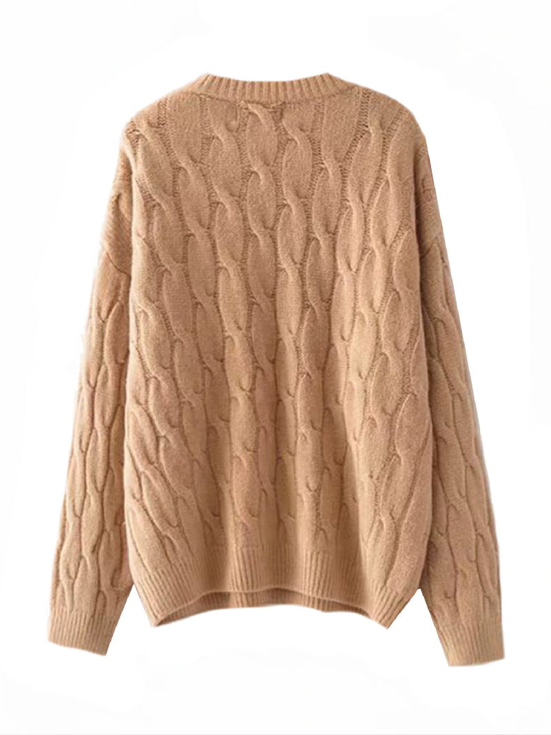 Goodnight Macaroon 'Hepburn' Camel Cable Knit Crewneck Sweater Back