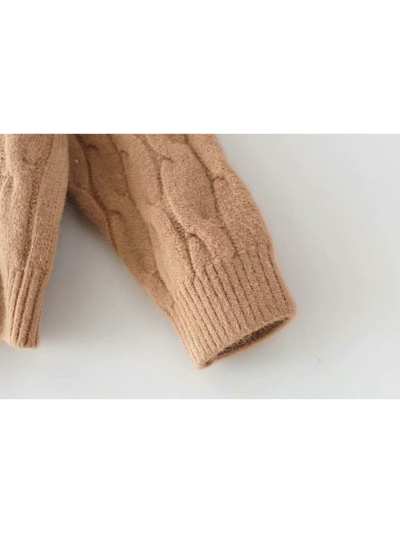 Goodnight Macaroon 'Hepburn' Camel Cable Knit Crewneck Sweater Sleeve