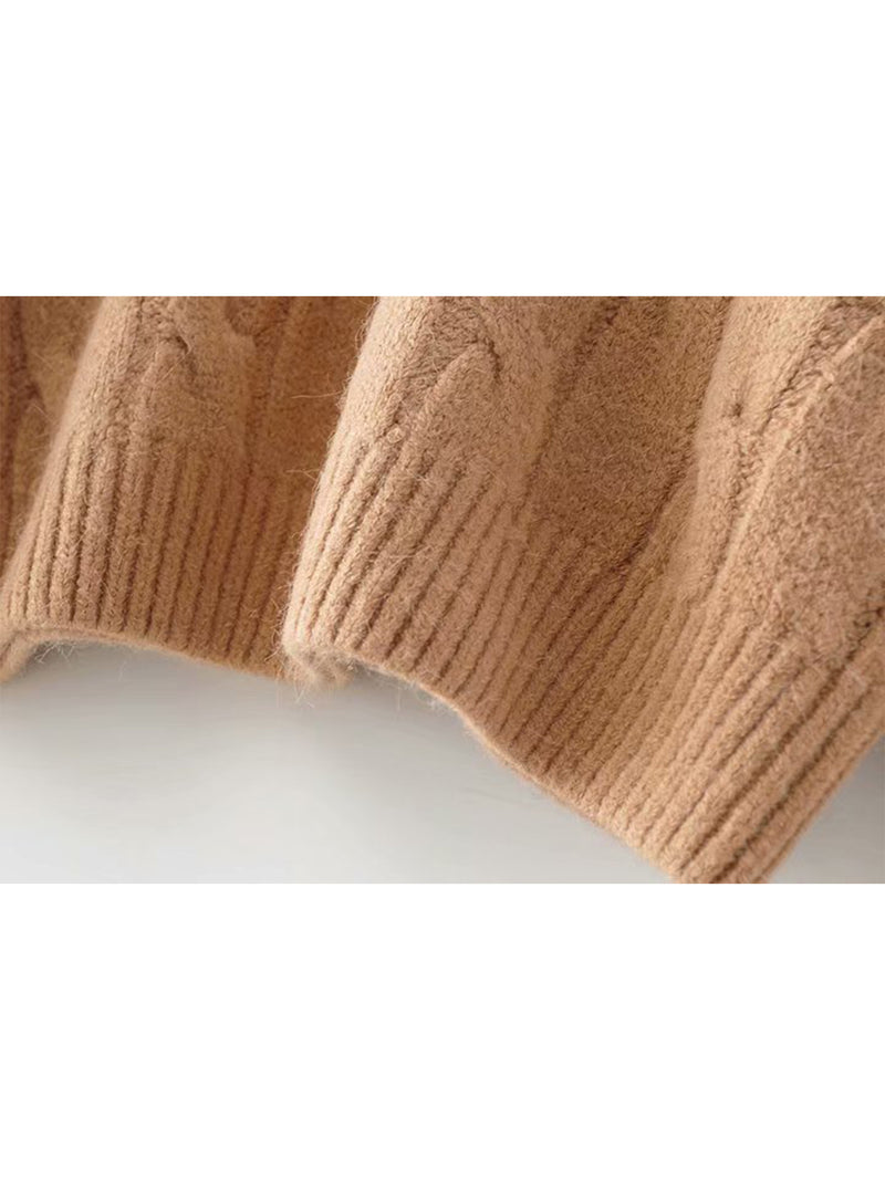 Goodnight Macaroon 'Hepburn' Camel Cable Knit Crewneck Sweater Hem