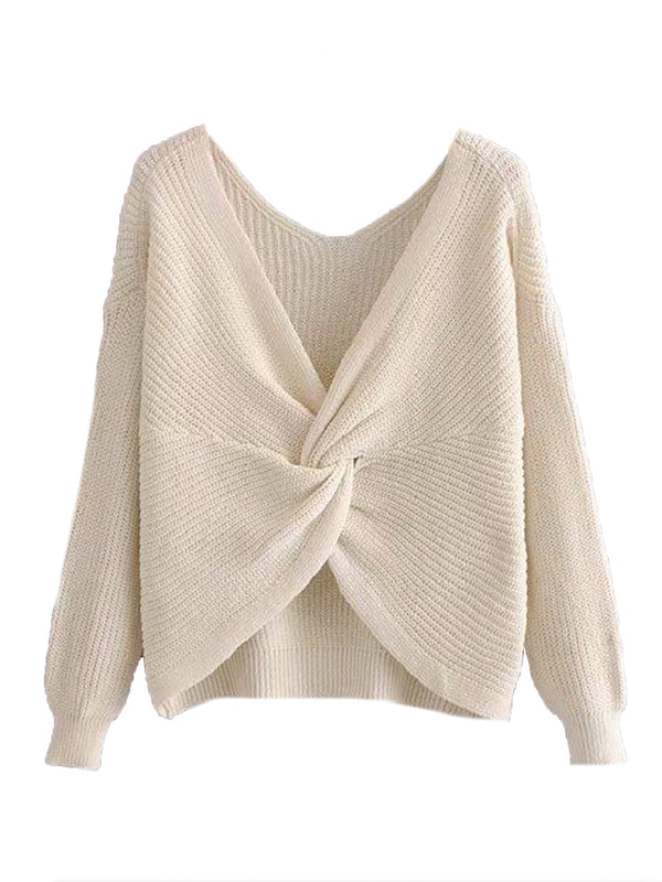 Goodnight Macaroon 'Maisy' Ribbed Knotted Two-Way Sweater White Knot