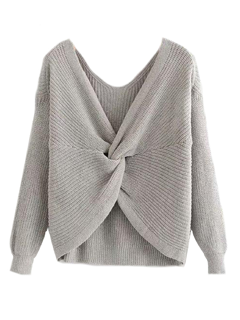 Goodnight Macaroon 'Maisy' Ribbed Knotted Two-Way Sweater Grey Knot