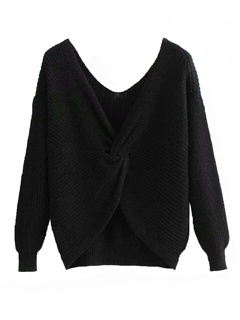 Goodnight Macaroon 'Maisy' Ribbed Knotted Two-Way Sweater Black Knot