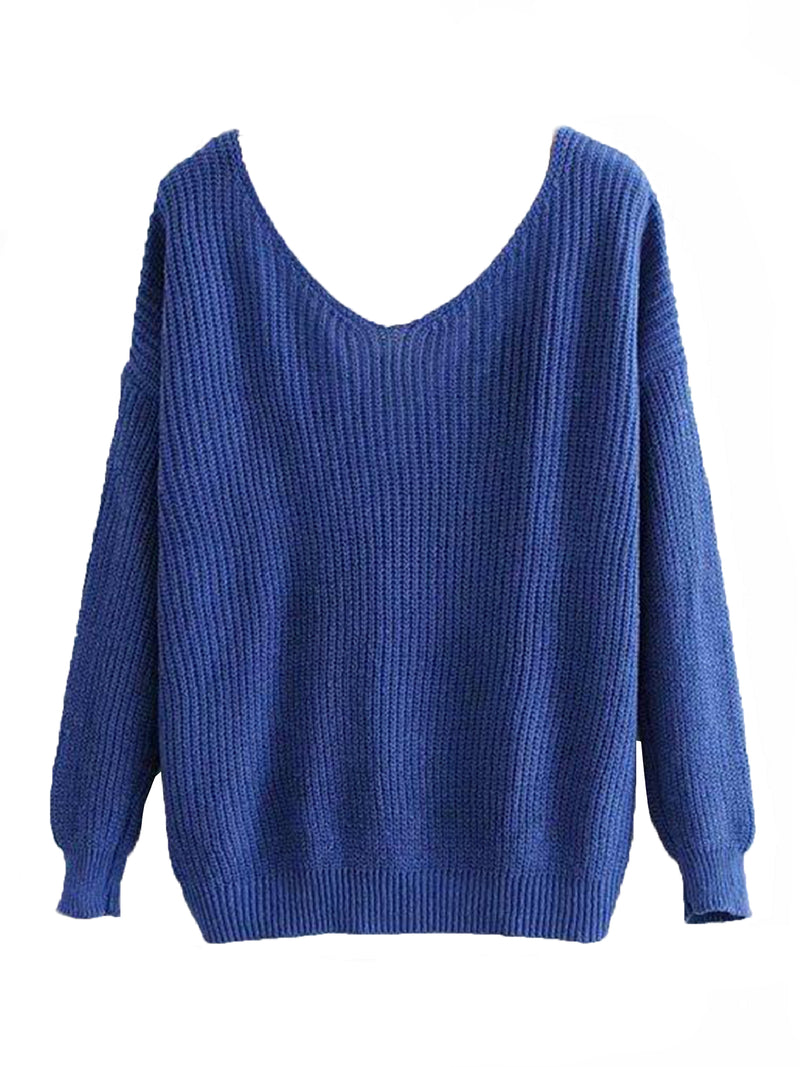 Goodnight Macaroon 'Maisy' Ribbed Knotted Two-Way Sweater Blue No Knot