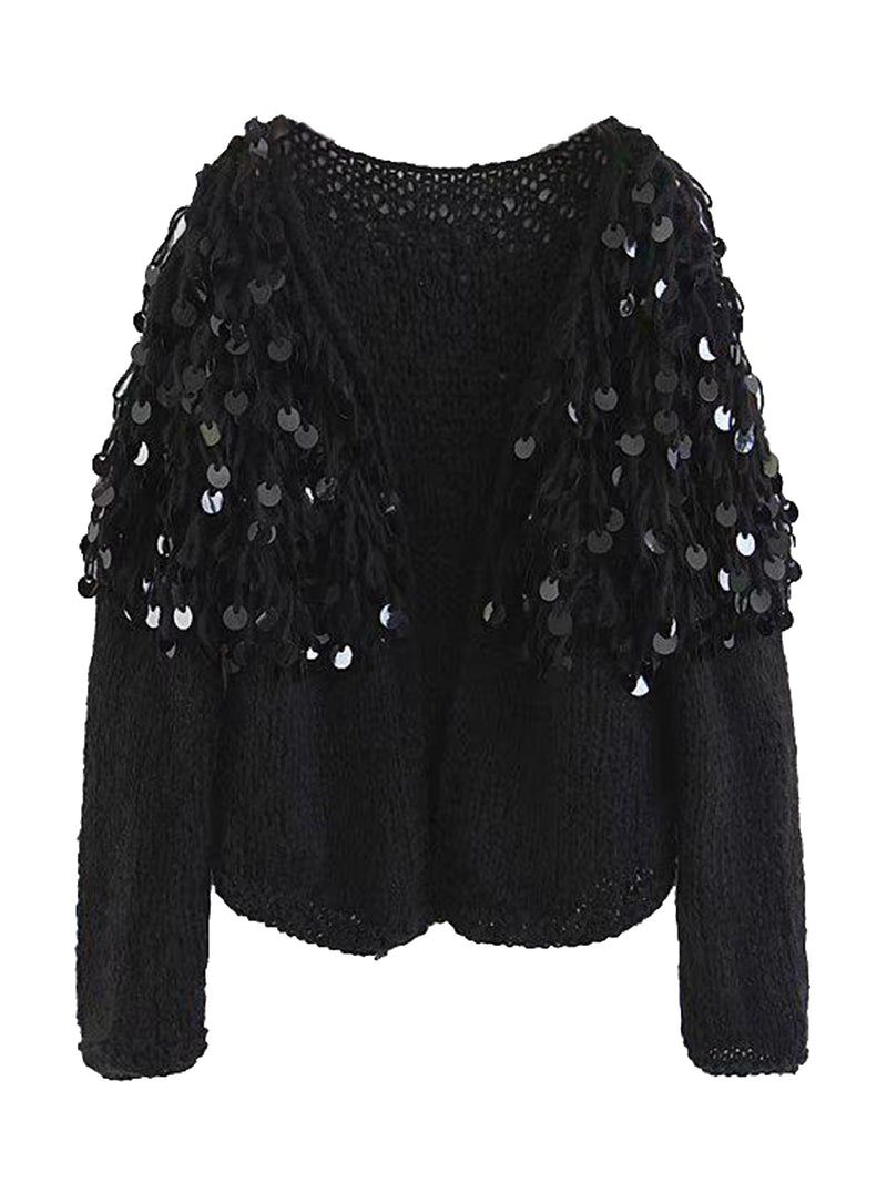Goodnight Macaroon 'Roxie' Mohair Sequinned Open-Front Cardigan Black Front