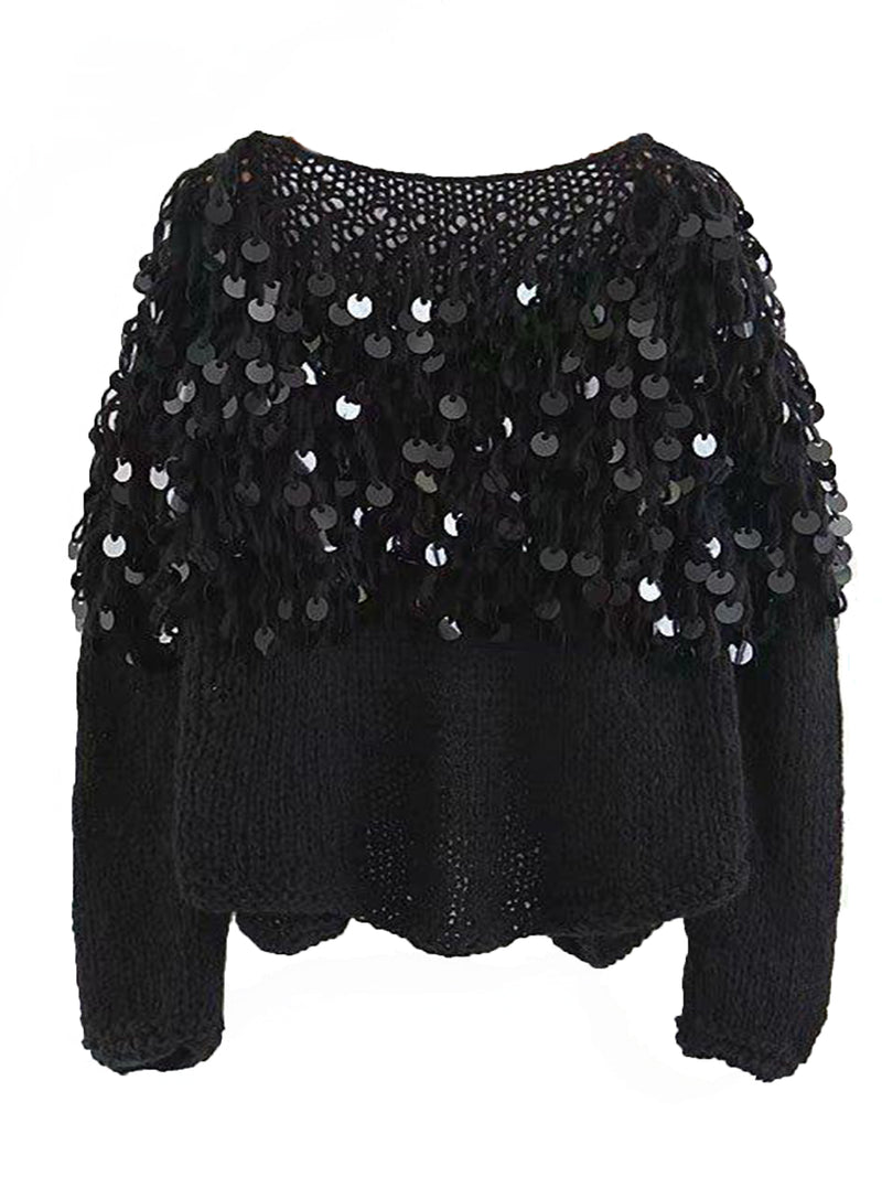 Goodnight Macaroon 'Roxie' Mohair Sequinned Open-Front Cardigan Black Back