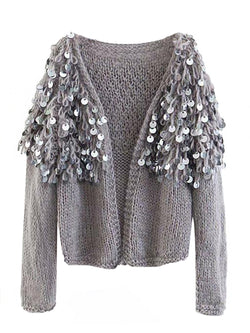 Goodnight Macaroon 'Roxie' Mohair Sequinned Open-Front Cardigan Grey Front