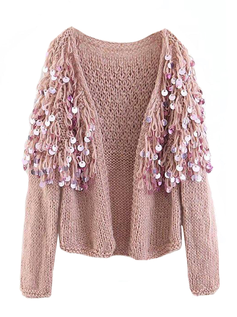 Goodnight Macaroon 'Roxie' Mohair Sequinned Open-Front Cardigan Pink Front