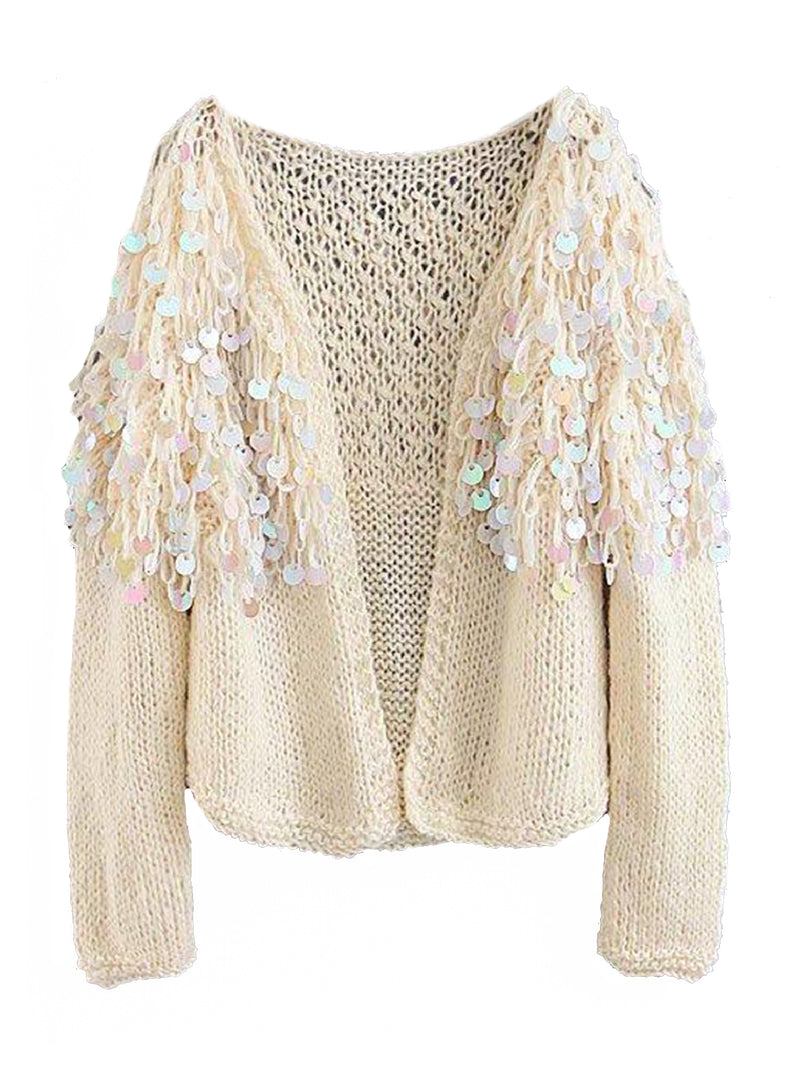 Goodnight Macaroon 'Roxie' Mohair Sequinned Open-Front Cardigan White Front