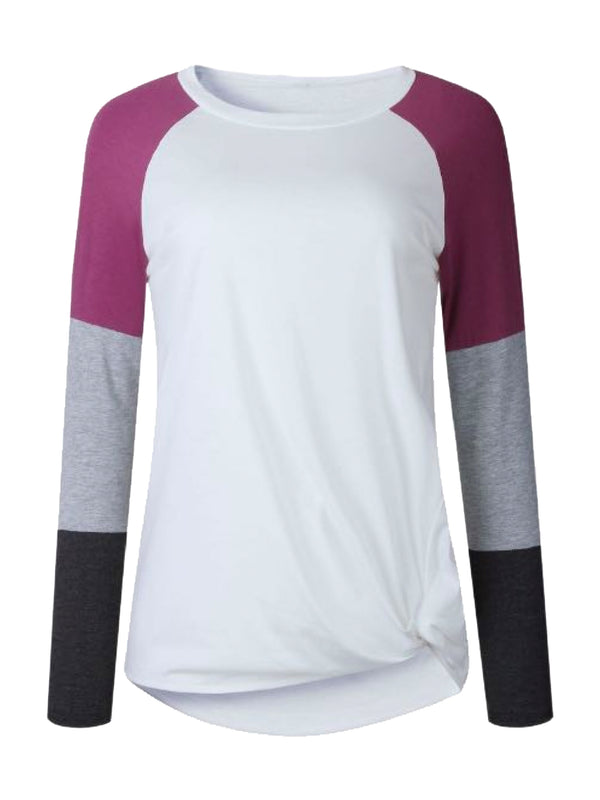 Goodnight Macaroon 'Gracie' Multi-Color Block Long Sleeve Baseball T-Shirt Purple Front