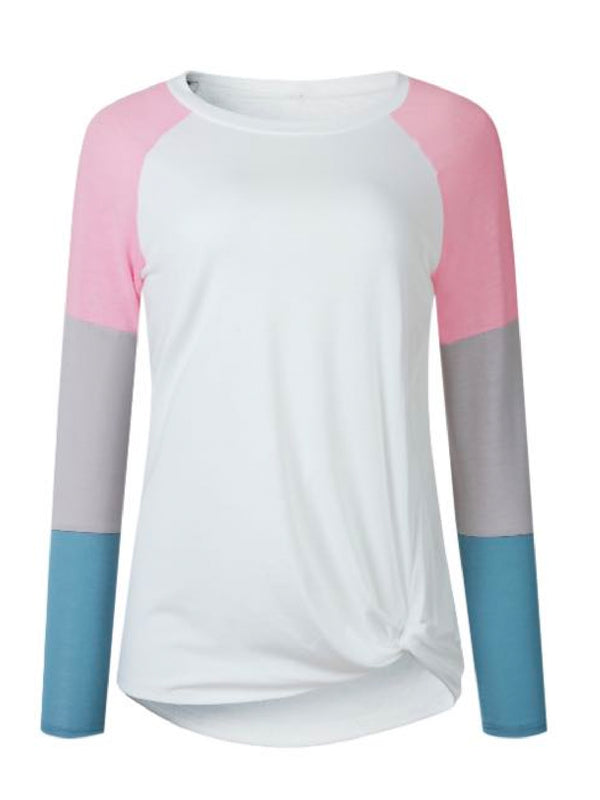 Goodnight Macaroon 'Gracie' Multi-Color Block Long Sleeve Baseball T-Shirt Pink Front