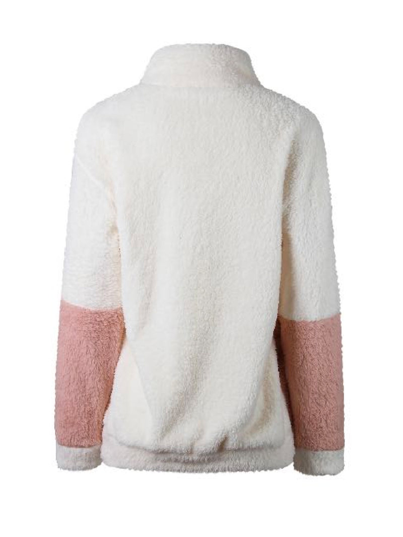Goodnight Macaroon 'Rowan' Two Tone Zip-Up Fleece Jacket Back