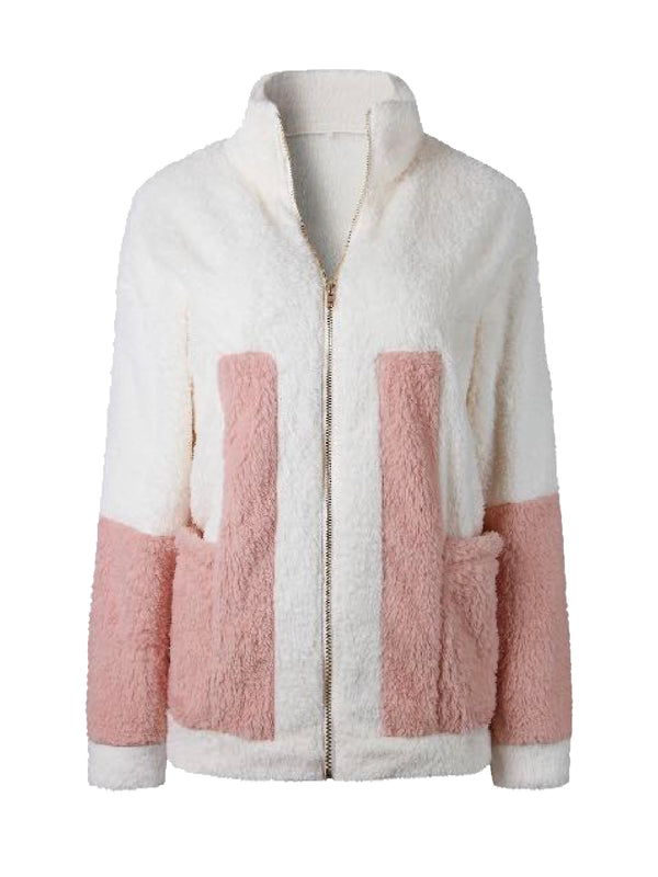 Goodnight Macaroon 'Rowan' Two Tone Zip-Up Fleece Jacket Front