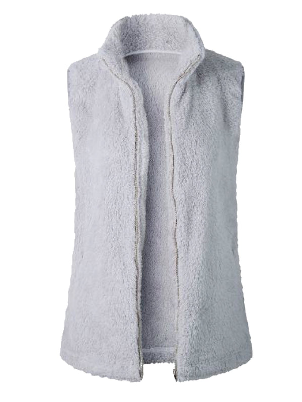 Goodnight Macaroon 'Charlee' High Collar Zip-Up Fleece Vest Dark Light Front