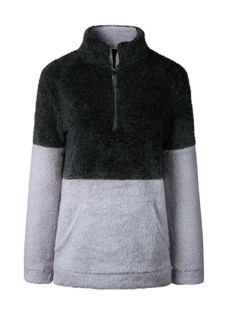 Goodnight Macaroon 'Aspen' Two-Tone Half-Zip Fleece Pullover Black Front