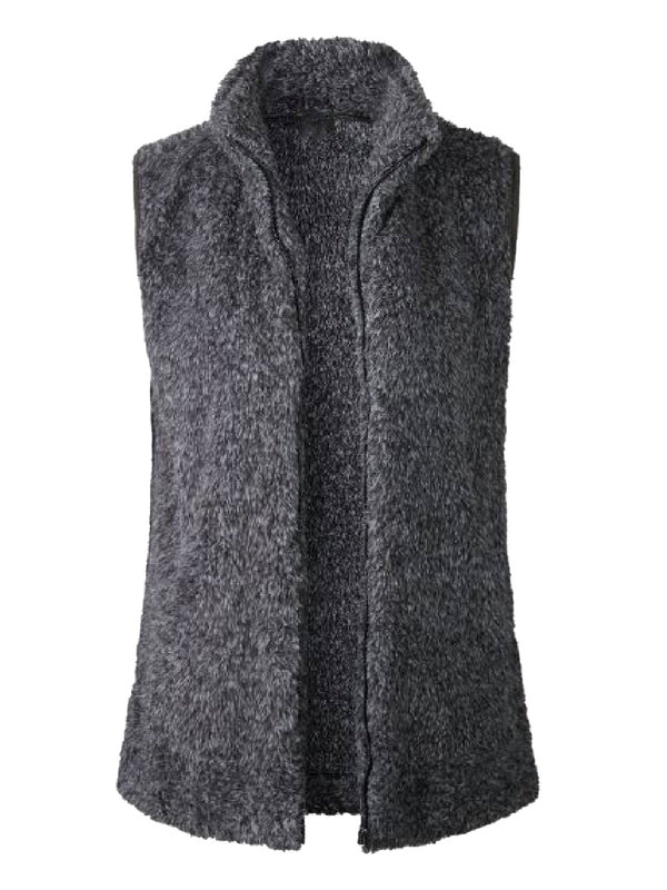 Goodnight Macaroon 'Charlee' High Collar Zip-Up Fleece Vest Dark Grey Front