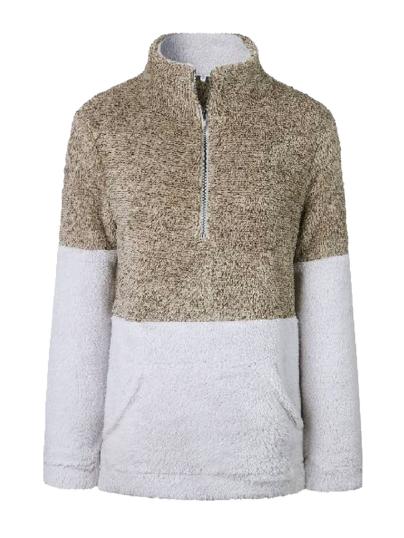 Goodnight Macaroon 'Aspen' Two-Tone Half-Zip Fleece Pullover Sand Front