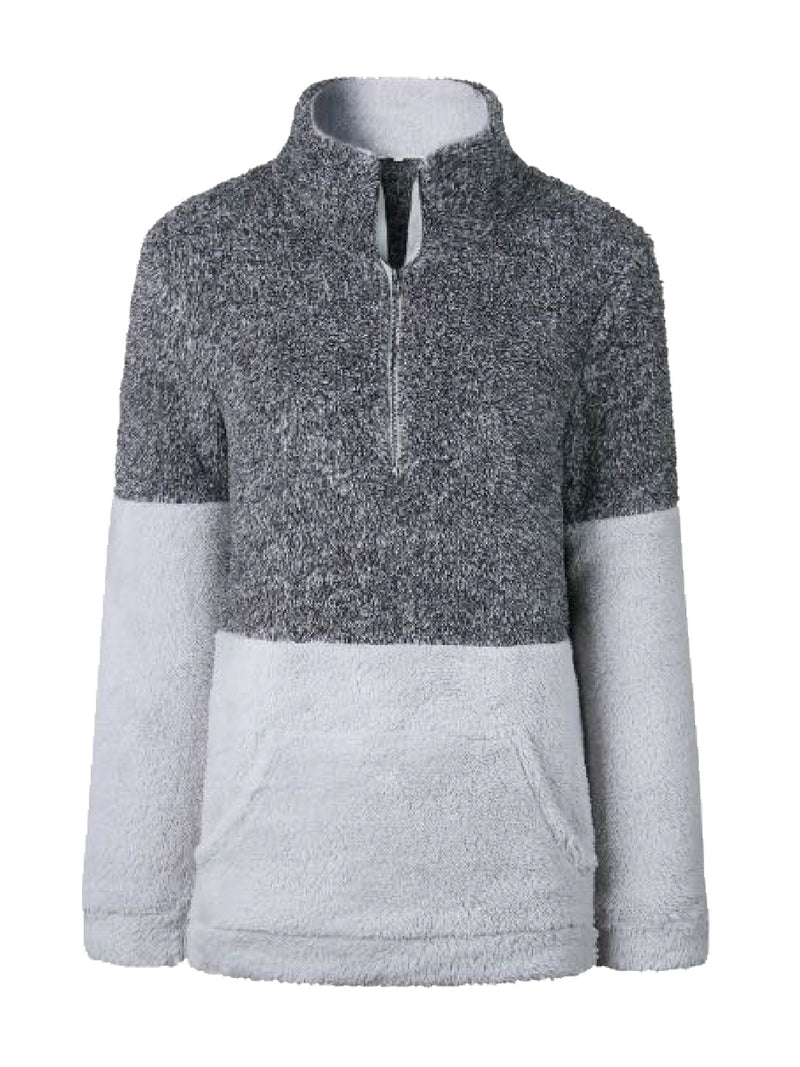 Goodnight Macaroon 'Aspen' Two-Tone Half-Zip Fleece Pullover Grey Front
